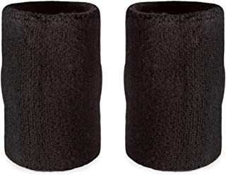 "Suddora 6"" Doublewide Wrist Bands/Armbands (Pair) - Thick Sweatbands for Basketball, Tennis, Baseball, Gym"