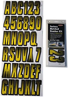 Hardline Products YEBKG300 Series 300 Factory Matched 3-Inch Boat & PWC Registration Number Kit, Yellow/Black