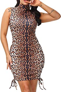 Ladies Dresses Leopard Print Bodycon Mini Dress Party Outfit Night Out Uk Made