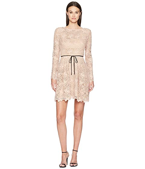 ML Monique Lhuillier Long Sleeve Tie Waist Lace Dress