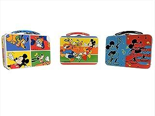 "Disney 3-Pk 9"" Tin Box Minnie Mickey Mouse & Friends Carry All"