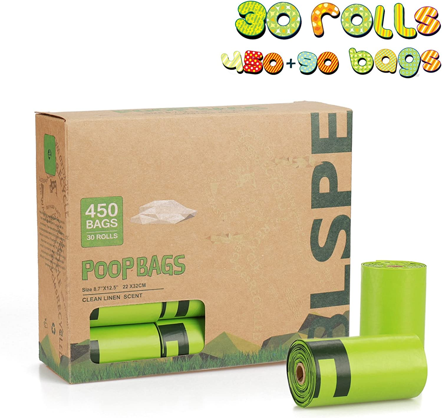 BLSPE Dog Pet Waste Poop Bags (450 Counts 30 Rolls, Scented), Pet Supply, Biodegradable, Refill Rolls, 90 Bags Added