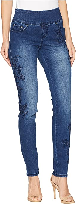 Nora Skinny Pull-On Jeans w/ Embroidery in Kodiak Blue