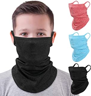 MoKo Nackvärmare för barn, ansiktsmask, 3-pack scarf bandana mask med öronöglor för barn, balaklava, UV solskydd damm vind...
