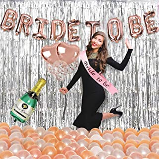 Party Propz Bride To Be Decoration Set - 60Pcs Kit With Bride To Be Ring Foil Balloon; Metallic Balloons;Silver Foil Curta...