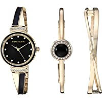 Anne Klein Women's Swarovski Crystal Accented Watch and Bangle Set (Gold/Black)