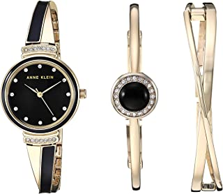 Anne Klein Womens Swarovski Crystal Accented Watch and Bangle Set