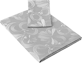 Amazon Brand - Solimo Imperial Swirls 500 TC Cotton Blend Single Bedsheet with 1 Pillow Covers, Ash Grey