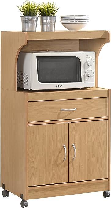 Amazon Com Hodedah Microwave Kitchen Cart Beech Kitchen Islands Carts