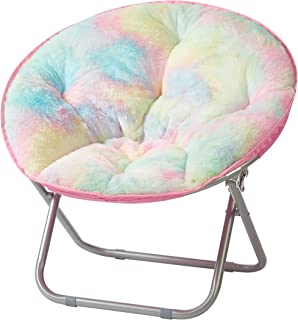 "Heritage Kids Sorbet Dreams Rainbow Fur Kids Saucer Chair, 23"", Multi"