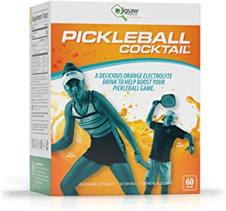 Jigsaw Health Pickleball Cocktail Packets - a Sugar-Free, Delicious Orange-Flavored Powdered Drink with 800mg of Potassium - 60 Servings