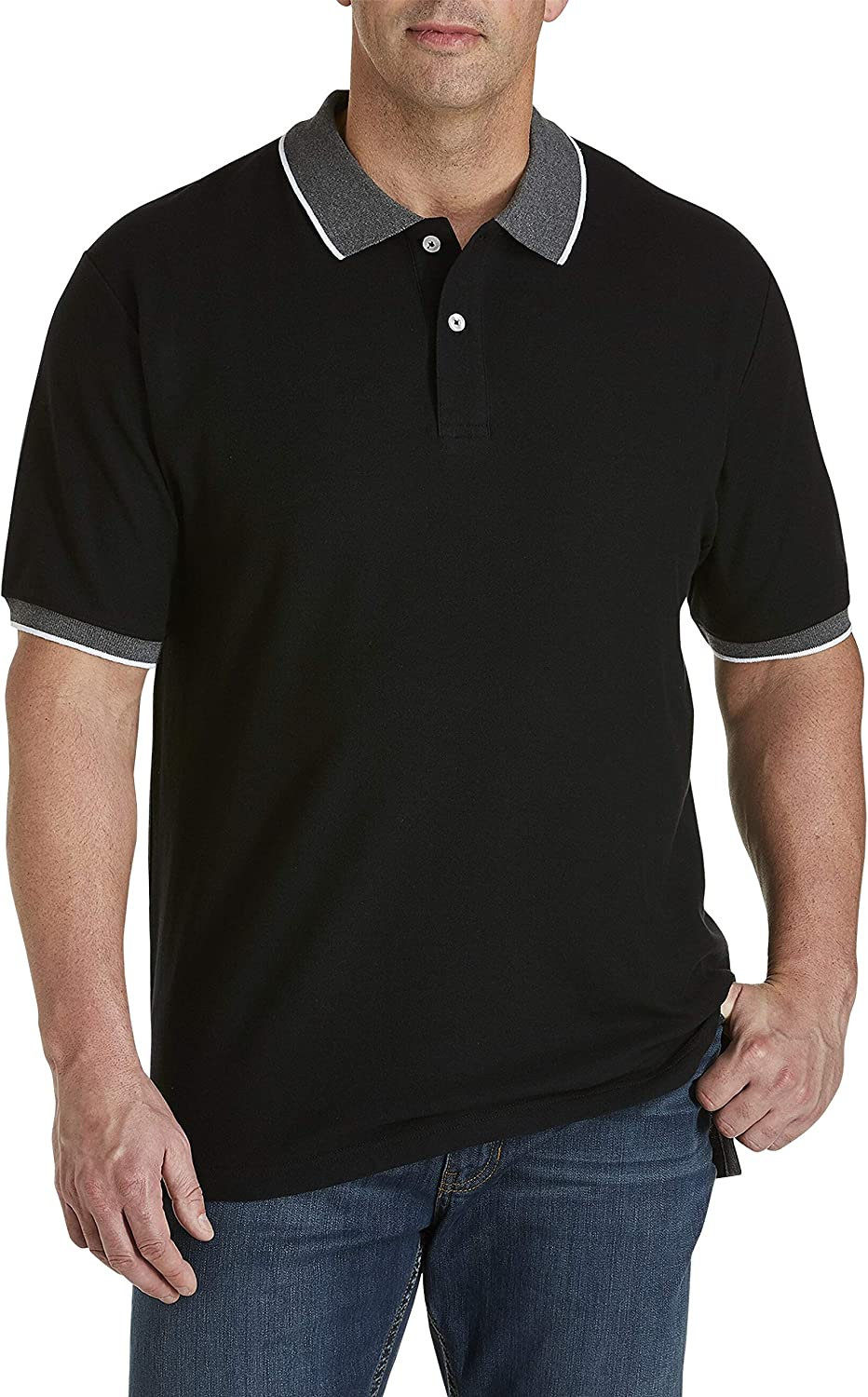 Harbor Bay by DXL Big and Tall Contrast Piqu233; Polo Shirt