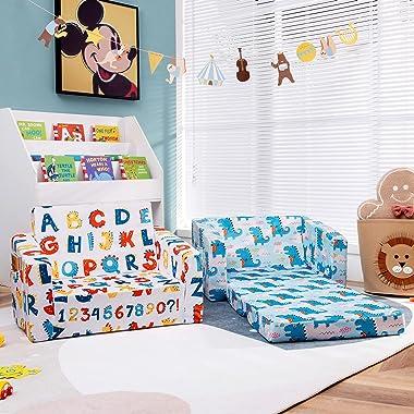 Costzon Kids Sofa, 2 in 1 Flip Open Couch w/Sturdy Sponge Construction, Velvet Fabric, Storage Pockets, Toddler Armrest Chair
