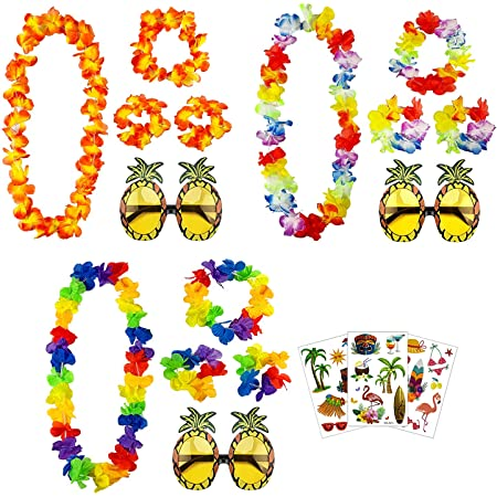 aovowog Pineapple Sunglasses Hawaiian Lei Flower Garlands Fancy Dress and Tattoos for Beach Party Decorations Supplies Photo Booth [3 Set]
