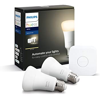 Philips Hue Pack de 2 Bombillas Inteligentes LED E27 y Puente, con ...