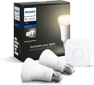 Philips Hue White E27 Starter Set van 2 stuks, dimbaar, warm wit licht, bestuurbaar via app, compatibel met Amazon Alexa (...