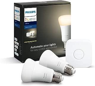 Philips Hue White Ambiance Pack de 2 bombillas LED inteligentes E27 y puente, luz blanca cálida , compatible con Bluetooth y Zigbee, funciona con Alexa y Google Home