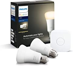 Philips Hue White Starter Kit: Smart Bulb Twin Pack LED [E27 Edison Screw] Including Bridge, Compatible with Alexa, Google...