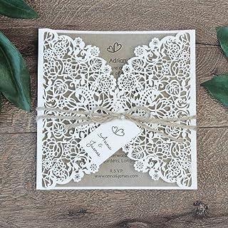 50 CARTE CONFEZIONE Bianco partecipazioni matrimonio taglio laser fai da te inviti matrimonio eco paper carta con busta