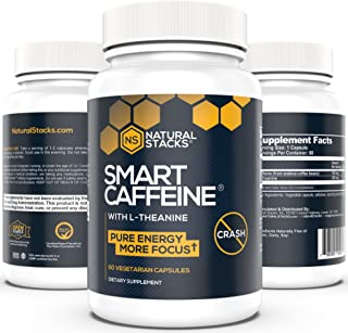 Smart Caffeine Nootropic Stack: Anhydrous Caffeine with L-Theanine for Focused, Consistent Energy. No Jitters, No Crash. A Healthy Safe Caffeine Supplement #1 Recommended Nootropic Stack 60 Capsules.