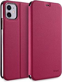 doupi Flip Case für iPhone 11 (6,1 Zoll), Deluxe Schutz Hülle mit Magnetischem Verschluss Cover Klapphülle Book Style Handyhülle Aufstellbar Ständer, rot pink