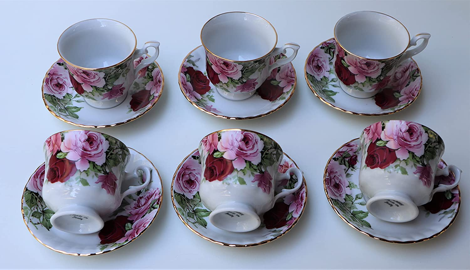 SET 06 TEA Cheap Finally resale start CUPS WITH SAUCERS 24K HANPDIANTED LINE AND GOLD ENGLI