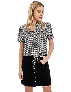 Defacto Plaid Waist Tie Short Sleeves Viscose Shirt for Women