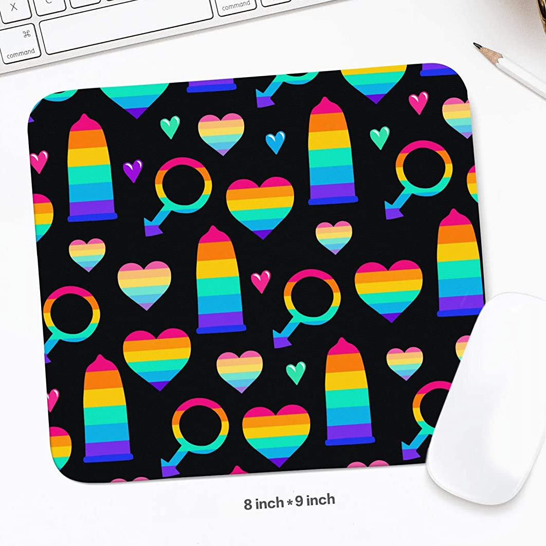 Mousepad Rubber Mouse Mat Office Condoms Hearts Male Gay Colorful Durable Pad