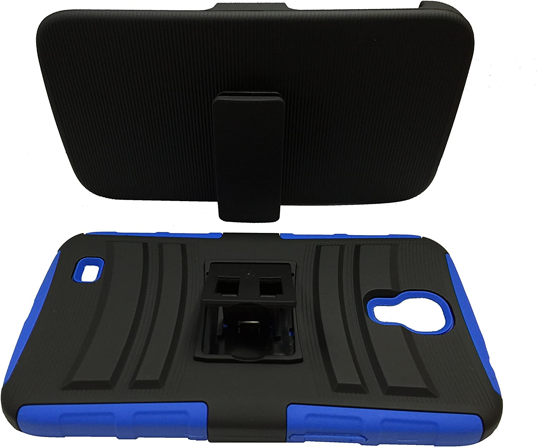 for Samsung Galaxy Mega 6.3, GT-I9200 I9205 Belt Clip Holster Hybrid Phone Cover Case + Happy Face Phone Dust Plug (Belt Clip Black-Blue)