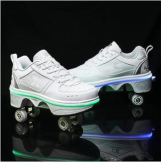HANHJ LED-rullskridskor rullskridskor första vandrare, fyrhjuling för rullskridskor, 2-i-1 multifunktionsskor med, idealis...