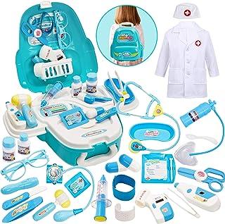 Buyger 2 en 1 Maletin Medicos Juguete Doctora Enfermeras Accesorios Juego de Imitación para 3+ Años Niños