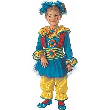 Rubies - Disfraz de payaso para niña, Azul/Amarillo, 3-4 años ...