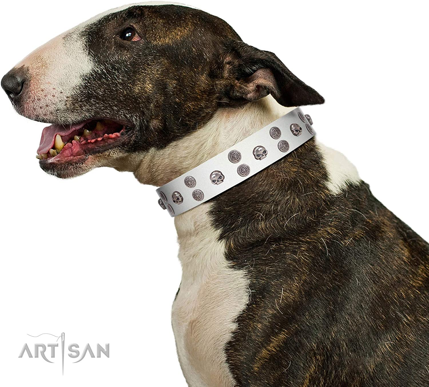 FDT Artisan 23 inch White Leather Dog Collar with SilverLike Skulls  Edgy Look  1 1 2 inch (40 mm) Wide  Gift Box Included