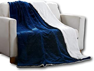 Tache 63x87 Embossed Super Soft Warm Fluffy Cozy Cuddly Night Blue Sherpa Throw Blanket, for Couch, Sofa or Twin Size Bed