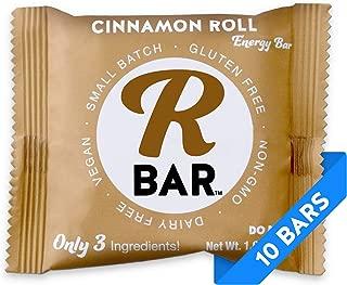 RBar Whole Food Plant Based Real Ceylon Cinnamon Roll Super Food Energy Bar - Dairy & Gluten Free Snacks, Vegan, Protein Bar - 3 Healthy Ingredients (10 Pack)