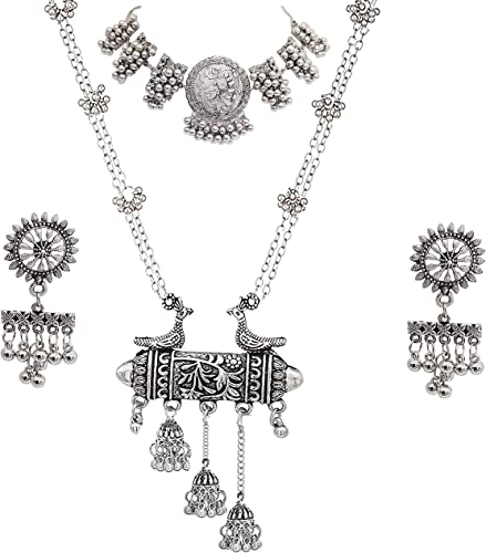 Jewellery Oxidised Silver Latest Desigen Choker Necklace Set with Earring for Women Girls