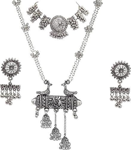 Jewellery Oxidised Silver Latest Desigen Choker Necklace Set with Earring for Women Girls