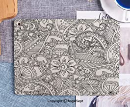 Fashionable iPad 6th/5th Generation Case New iPad 9.7 INCH 2018/2017 Case Full-body Shockproof Protective Case for iPad 5th/6th Gen,Coloring Pages For Adults Seamles Henna Mehndi Doodles Abstract Flor