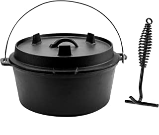 CO-Z 9 Quart Pre-Seasoned Cast Iron Dutch Oven with Lid and Lid Lifter Tool Outdoor Deep Camp Pot
