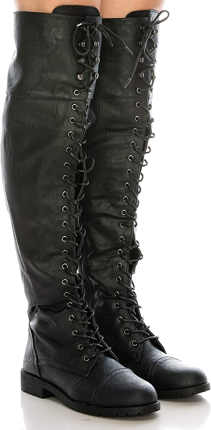 CALICO KIKI Women's Over The Knee High Lace up Boots - Low Heel Side Zipper & Closed Toe Faux Suede Leather Military Combat Boots