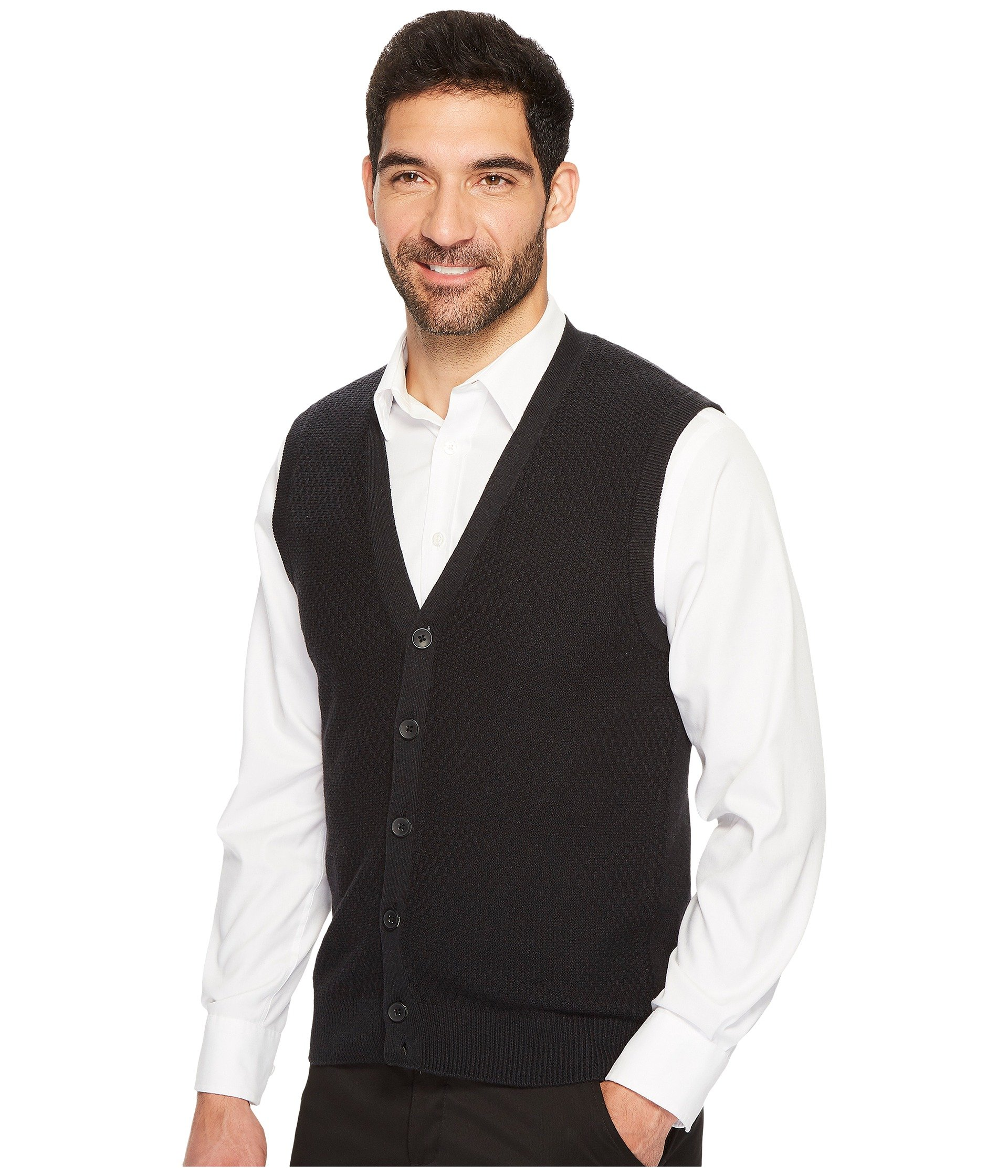 Perry Ellis Solid Textured Button Front Sweater Vest at Zappos.com