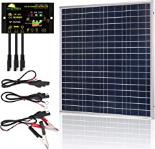 SUNER POWER 50 Watts 12V Off Grid Solar Panel Kit - Waterproof 50W Solar Panel + Photocell 10A Solar Charge Controller with Work Time Setting + SAE Connection Cable Kits