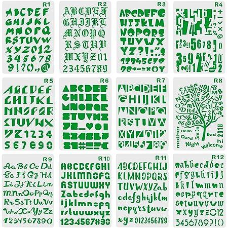 XDLink Lot de 12 Pochoir Chiffre et Letter Pochoir Alphabet Peinture Réutilisable Souple Majuscule Minuscule pour Scrapbooking Carte d'anniversaire Décoration Murale