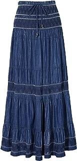 Maxi Cotton Skirt Women's Bohemian Flared Tiered Elastic High Waisted Long Denim Jean Skirts