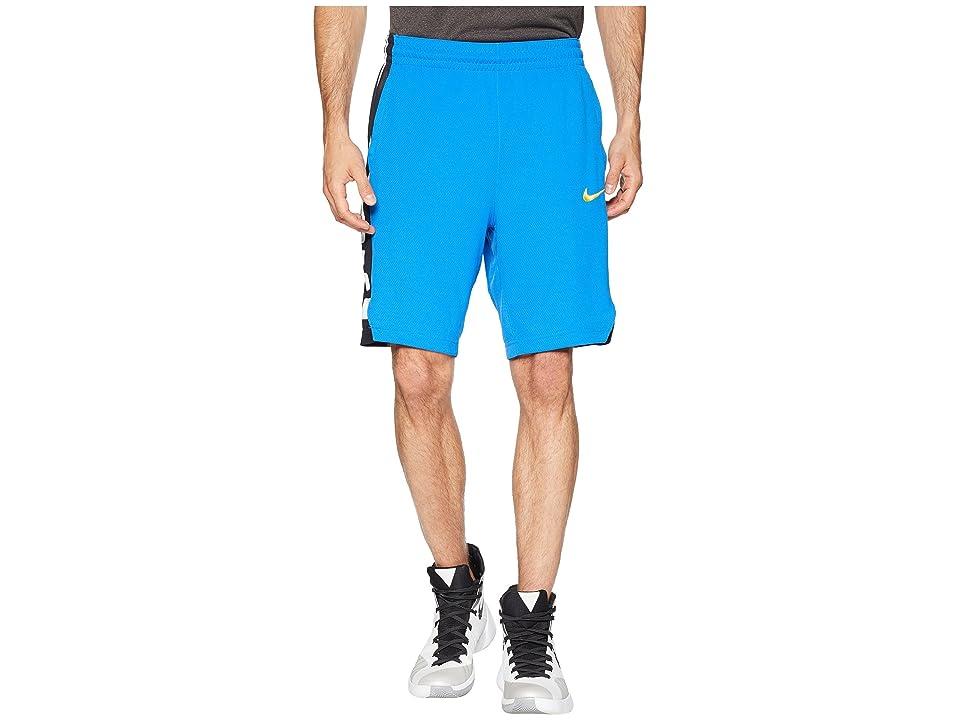 Nike Elite Stripe Basketball Short (Signal Blue/Signal Blue/Black/Amarillo) Men