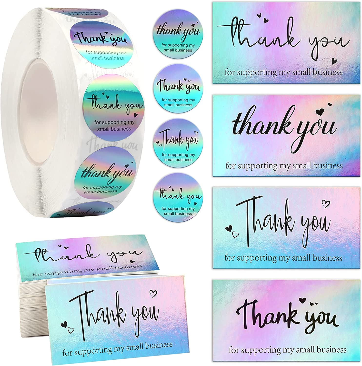 1120PCS Thank You Cards Set Time sale Rainbow Silv 120 Mail order Pieces Holographic