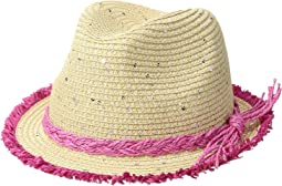 San Diego Hat Company Kids - Paperbraid Fedora w/ Color Pop Fray Edge (Little Kids/Big Kids)
