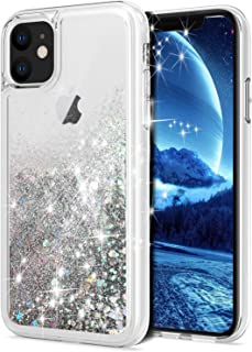 for iPhone 11 Case, WORLDMOM Double Layer Design Bling Flowing Liquid Floating Sparkle Colorful Glitter Waterfall TPU Protective Phone Case for Apple iPhone 11 [6.1 inch 2019], Silver