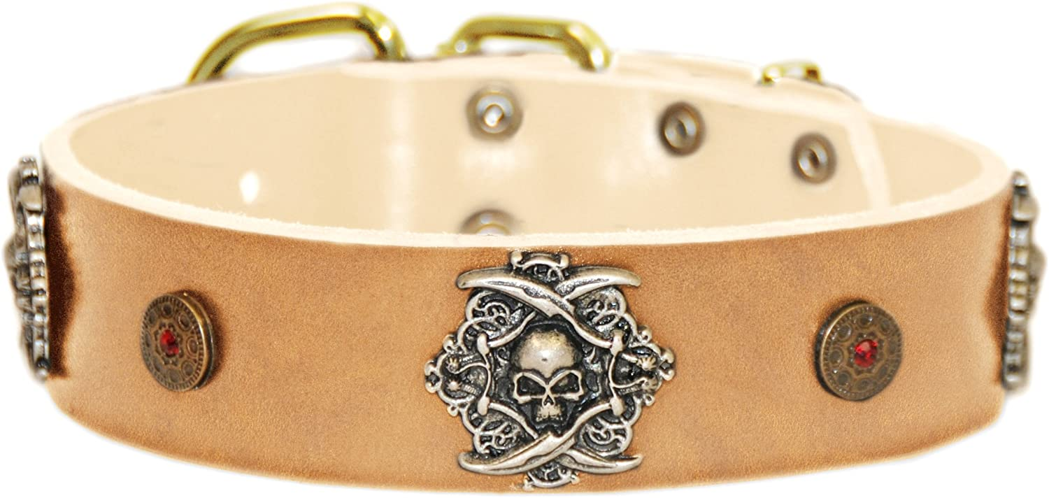 Dean and Tyler  THE PIRATE  Leather Dog Collar with Solid Brass Buckle  Tan  Size 81cm by 4cm Width. Fits Neck Size 30 Inches to 34 Inches.