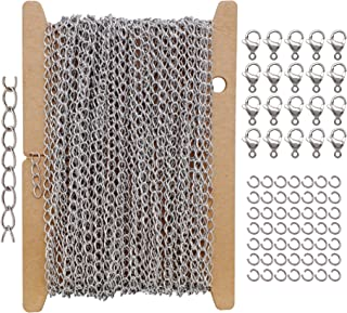 32Ft Wide 2.6mm Stainless Steel Curb Chain Set, with 20 Lobster Clasps+50 Jump Rings, Extender Tails Craft Chains Finding ...